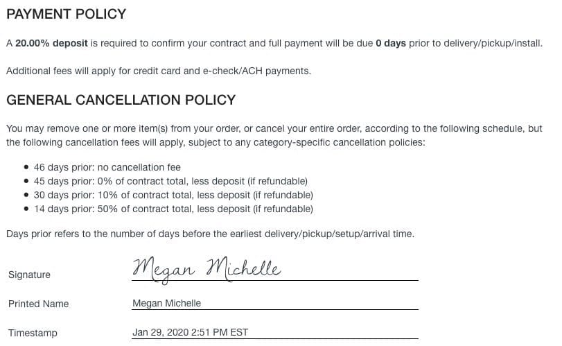 Screenshot of Goodshuffle Pro payment and cancellation policy for a customer.